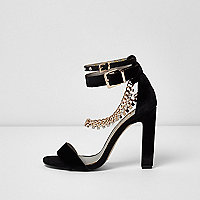 Black rhinestone chain sandals
