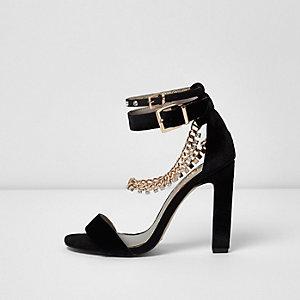 Sandales noires à strass détail chaîne