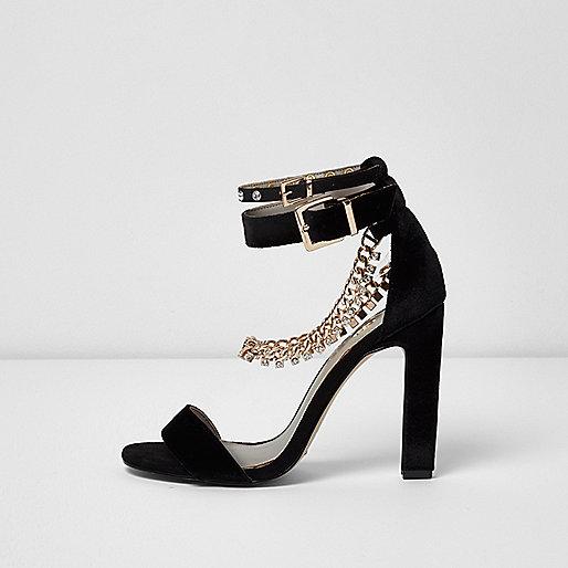 Black diamante chain sandals