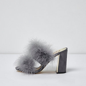 Grey faux fur block heel mules