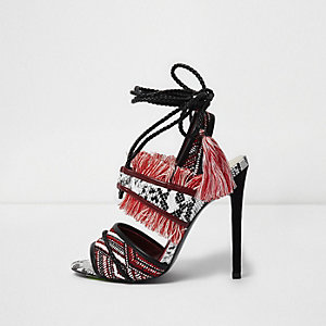 Red fringed tie up sandals