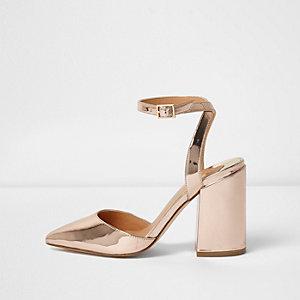Gold metallic two part block heel pumps
