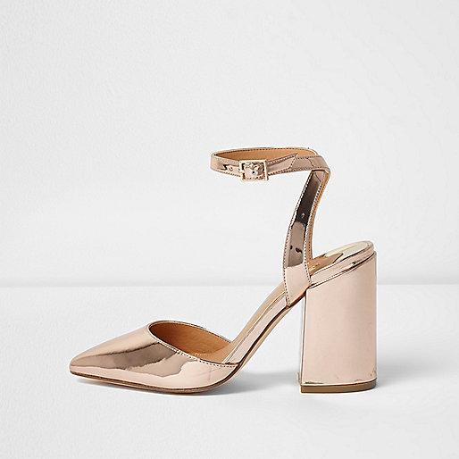 Gold metallic two part block heel court shoes