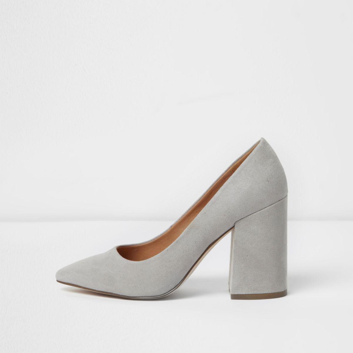 Light grey block heel court shoes