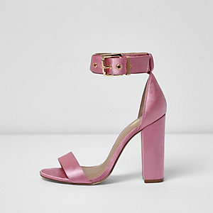 Pink satin two part block heel sandals