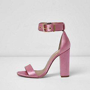 Pink satin two part block heel sandals