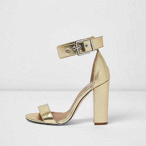 Gold metallic buckle block heel sandals