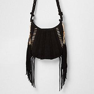 Black suede fringe jewel cross body bag