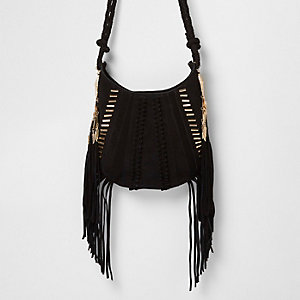 Black suede fringe jewel cross body bag