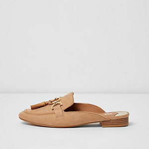Light pink snaffle backless loafers