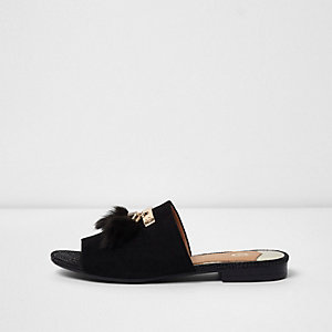 Black tassel backless loafers