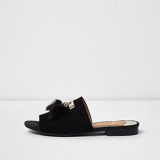 Black tassel backless loafers
