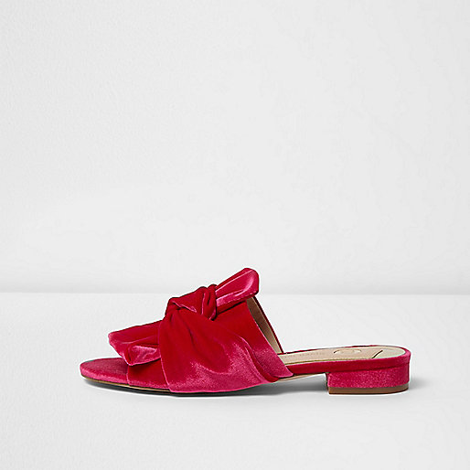 Pink velvet knot front backless loafers