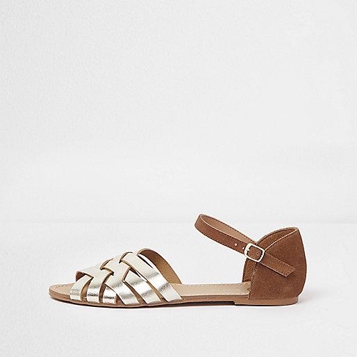 Brown metallic strappy flat sandals