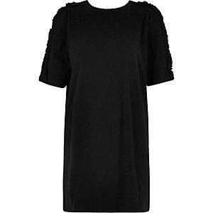 Black frill cold shoulder oversized top
