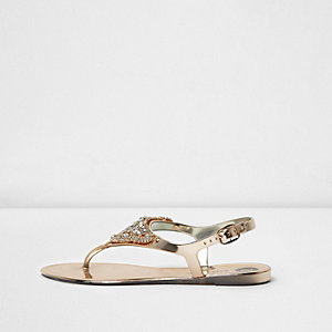 Gold metallic embellished jelly sandals