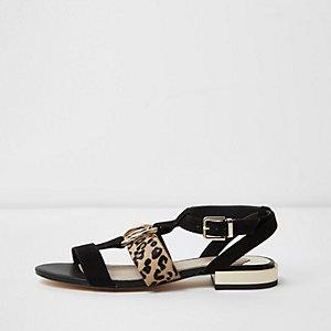 Black leopard print open toe sandals