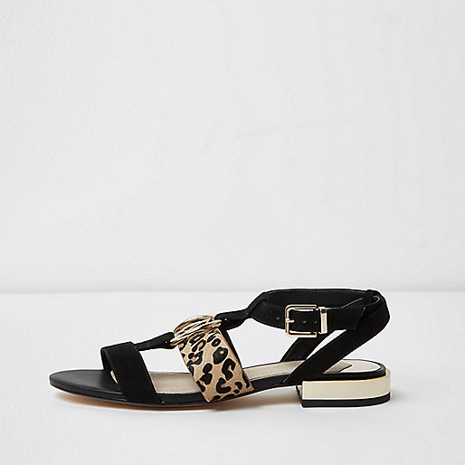 Black leopard print open toe sandals