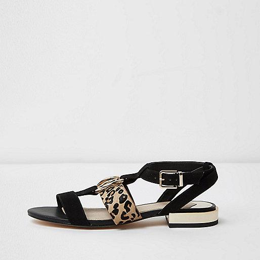 Sandales peep toes noires à motif léopard
