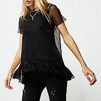 Black mesh frill hem top