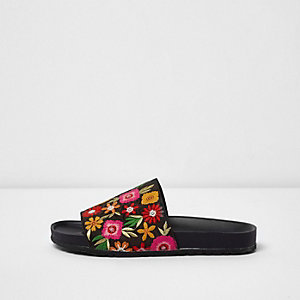 Black floral embroidered sliders