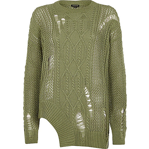 Khaki cable knit laddered cut out hem jumper