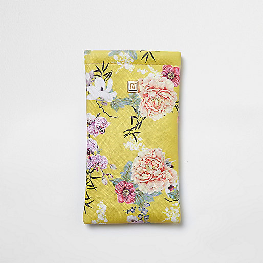 Yellow floral print sunglasses case
