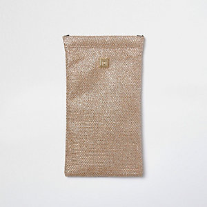 Gold glitter sunglasses case