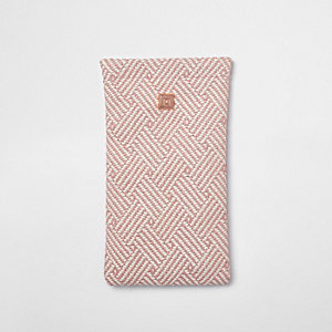 Pink geo woven sunglasses case