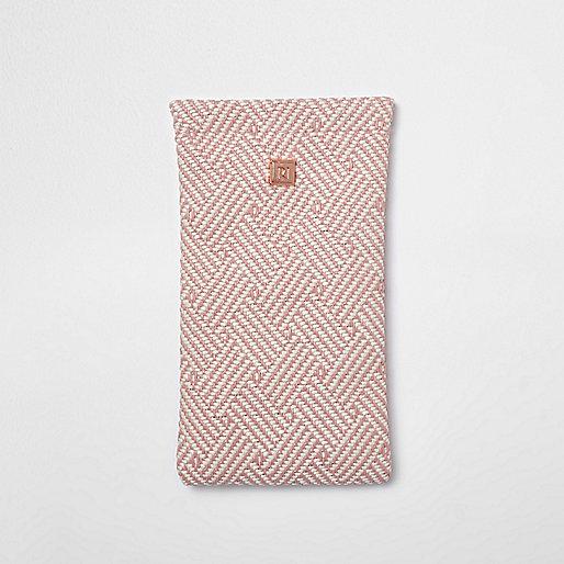 Pink geo woven sunglasses case