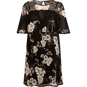 Black mesh floral print T-shirt dress