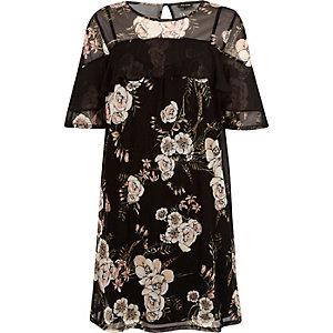 Zwarte mesh T-shirtjurk met bloemenprint