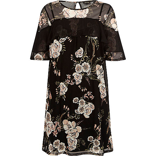 Black mesh floral print T-shirt dress