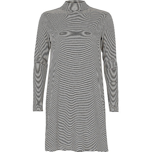 Black and white stripe turtleneck dress