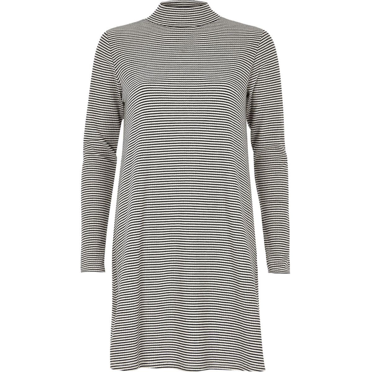 Black and white stripe turtleneck dress