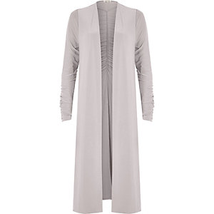 Light grey ruched longline duster coat