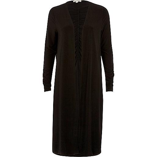 Black ruched longline cardigan