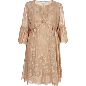 Pink lace frill sleeve peasant dress