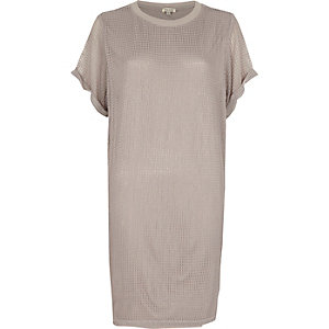 Grey mesh T-shirt dress