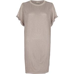 Graues T-Shirt-Kleid mit Mesh-Einsatz