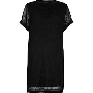 T-Shirt-Kleid aus schwarzem Mesh