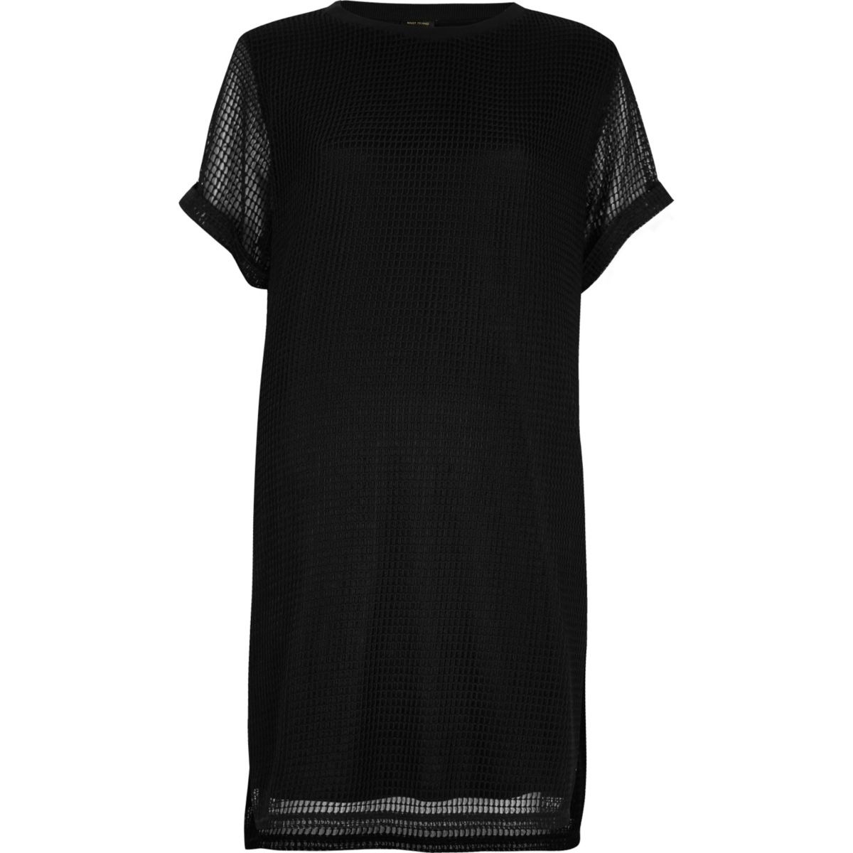 Black mesh t shirt dress dresses sale women for Black studs for dress shirt