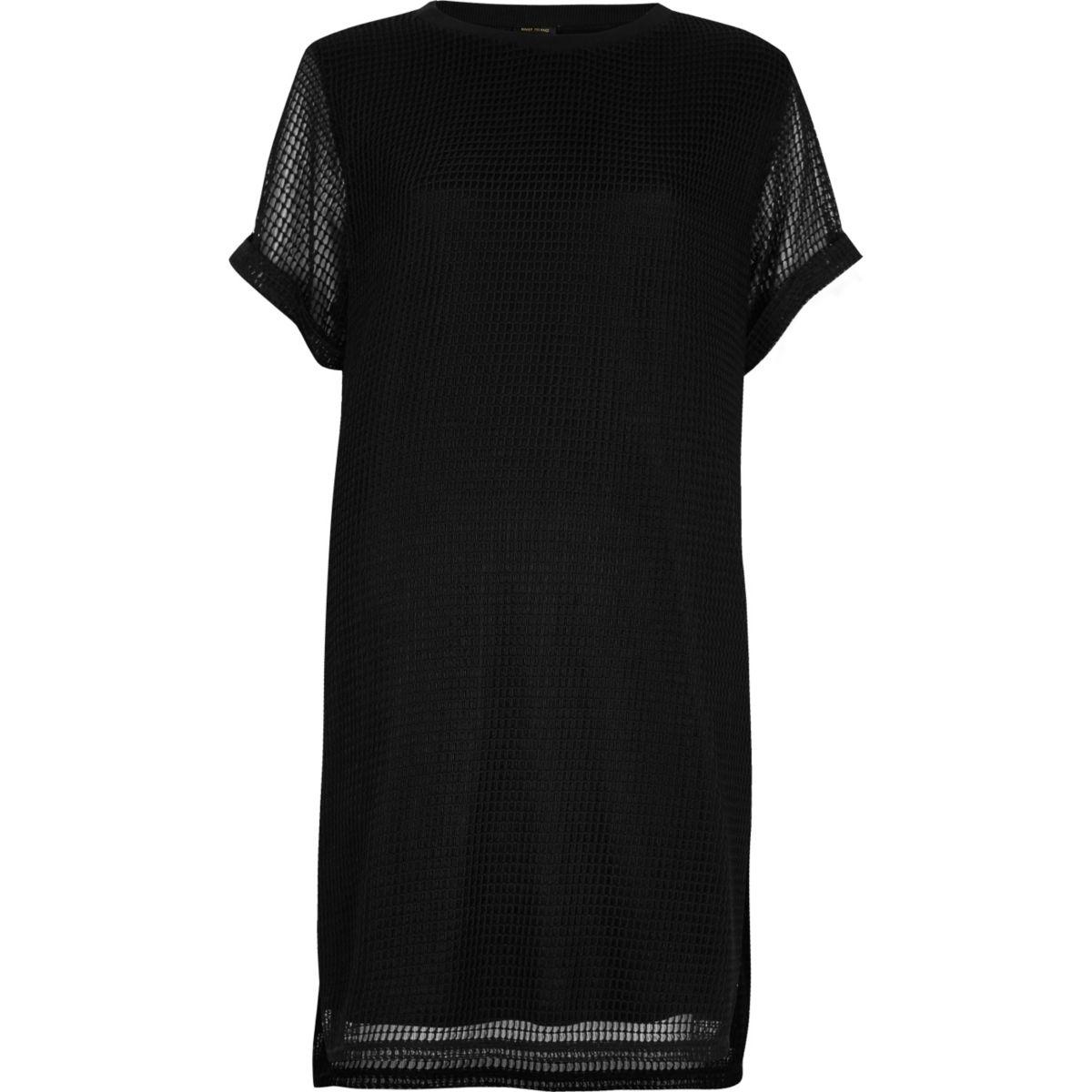 Zwarte T-shirtjurk met mesh