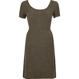 Khaki green textured tie back dress
