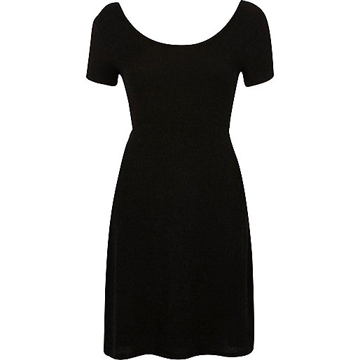 Black textured tie back dress