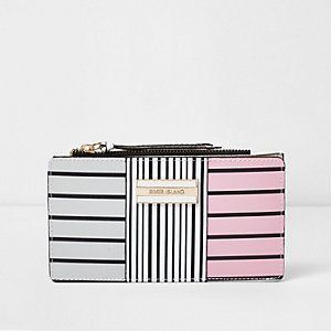 White striped panel slim foldout purse