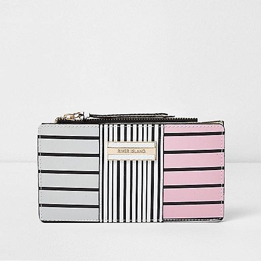 White striped panel slim foldout purse
