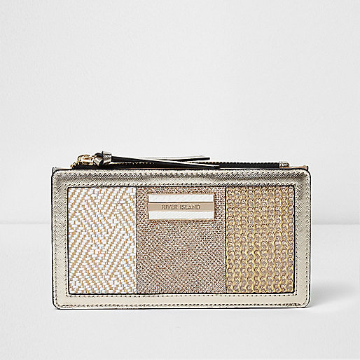 Gold woven panel slim foldout purse