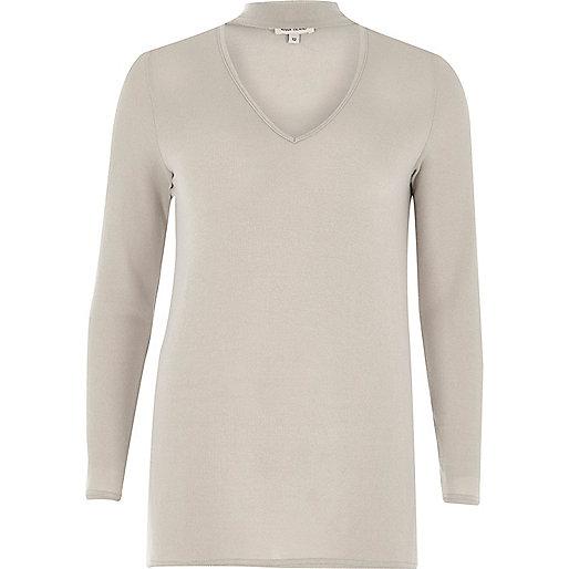 Grey knit choker top