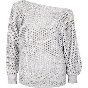 Grey mesh knit off shoulder batwing jumper